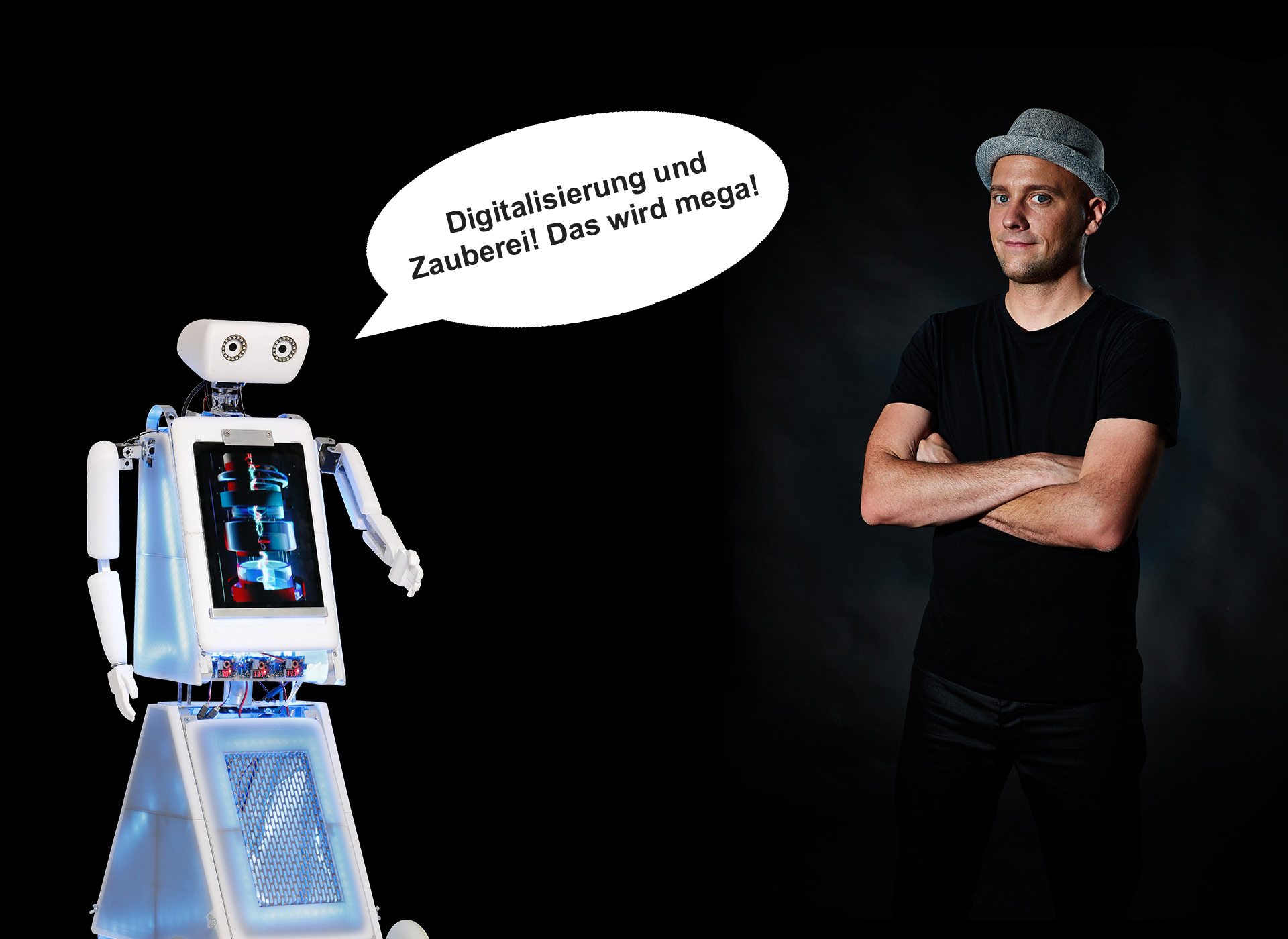 Digitalisierung und Zauberei präsentiert von einem Roboter und einem Magier